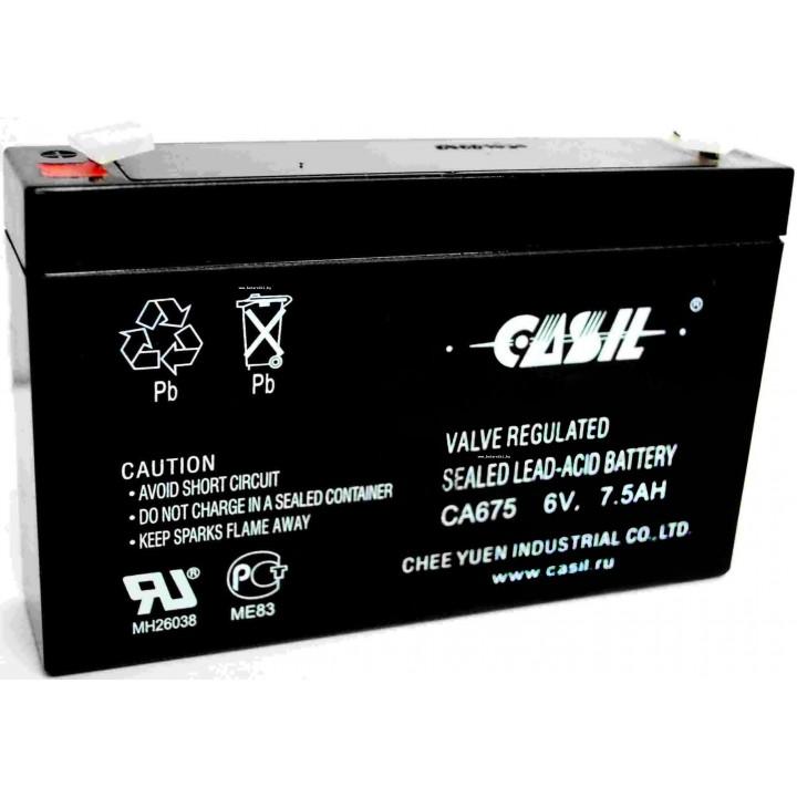 Аккумулятор свинцово-кислотный CASIL CA675 6V 7,5Ah
