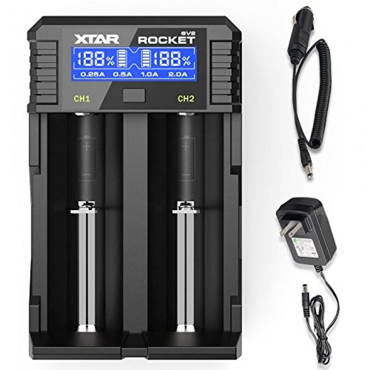 Зарядное устройство Xtar для аккумуляторных элементов (в комплекте с сетевым и автомобильным адаптерами) SV2