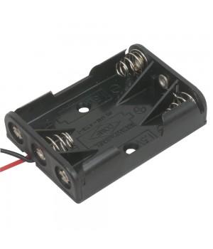 Батарейный отсек COMF для 3хAAA, R3 с выводами, чёрный  (до 50В) BH-431-1A
