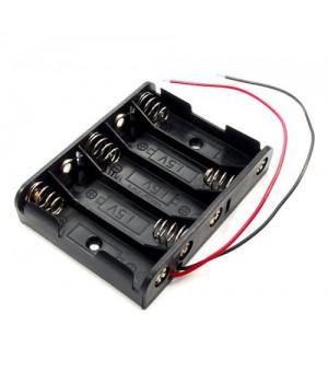 Батарейный отсек COMF для 5хAA, R6 с выводами, чёрный  (до 50В) BH-351A