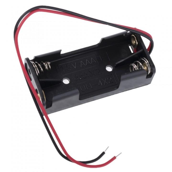 Батарейный отсек COMF для 2хAAA, R3 с выводами, чёрный  (до 50В) BH-421A