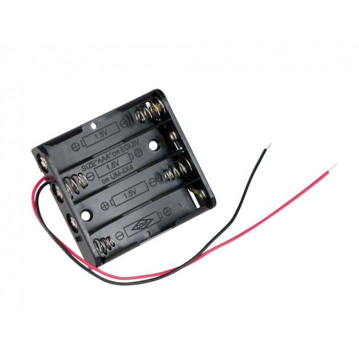 Батарейный отсек COMF для 4хAAA, R3 с выводами, чёрный  (до 50В) BH-441A