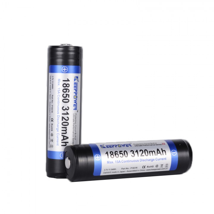 Аккумулятор KeepPower Li-ion с защитой 18650 R- серии 15A макс.(3.7 В, 3.12А/ч) P1831R